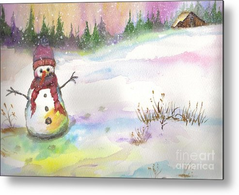 Snowman Metal Print featuring the painting Snowman by Jan Freeman
