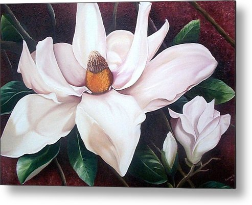 Magnolia Southern Bloom Floral Botanical White Metal Print featuring the painting Southern Beauty by Karin Dawn Kelshall- Best