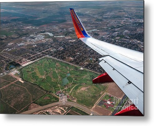 Southwest Airplane Landscape Photograph Metal Print featuring the digital art Soutwest Airlines by Mae Wertz