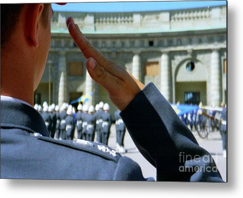 Sweden Metal Print featuring the photograph Stockholm Palace Guard Change by Ted Pollard