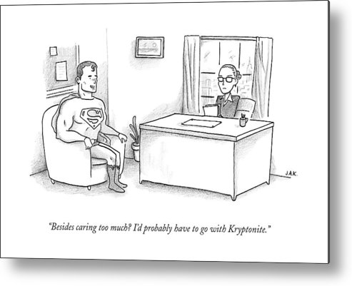 Job Interview Metal Print featuring the drawing Superman Sits At A Job Interview by Jason Adam Katzenstein