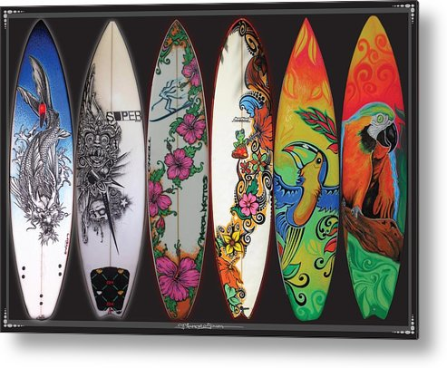Surf Metal Print featuring the mixed media Surfboards Art Jungle2 by MarceloSouza TattoosnGraphx