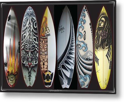Surf Metal Print featuring the mixed media Surfboards Art by MarceloSouza TattoosnGraphx
