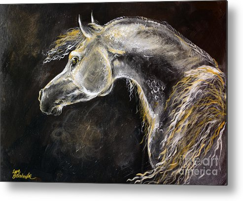 Horse Metal Print featuring the painting The Grey Arabian Horse 9 by Angel Ciesniarska