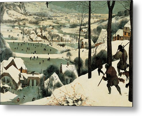 Winter Metal Print featuring the painting The Hunters In The Snow by Jan the Elder Brueghel