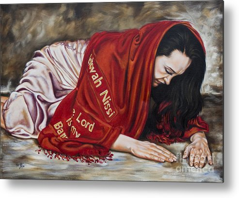 Ex 17:8-16 When Lifted Up Metal Print featuring the painting The Lord Is My Banner Yahweh Nissi by Ilse Kleyn
