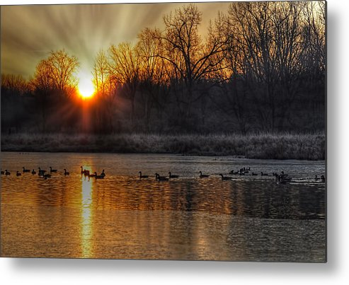 Sunrise Sunset Sun Lake Ice Winter Geese Landscape Glorious Nature Metal Print featuring the photograph The Sun Also Rises by Karl Barth