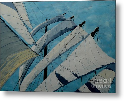 Sails Metal Print featuring the painting The Tower Of Power by Anthony Dunphy