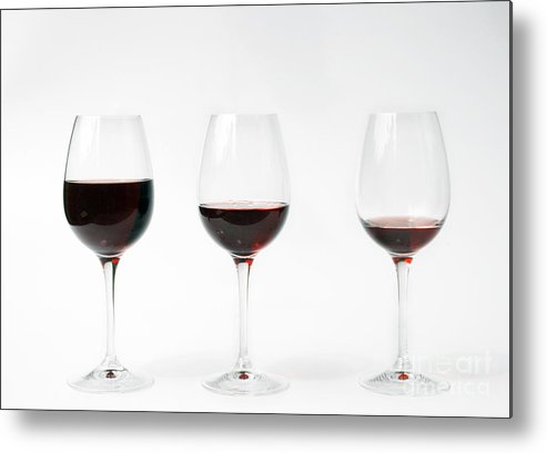 Three Metal Print featuring the photograph Three Glasses Of Wine by Patricia Hofmeester