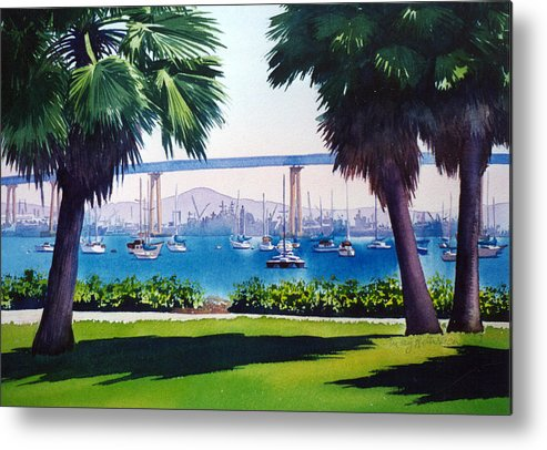 Tide Land Metal Print featuring the painting Tide Lands Park Coronado by Mary Helmreich