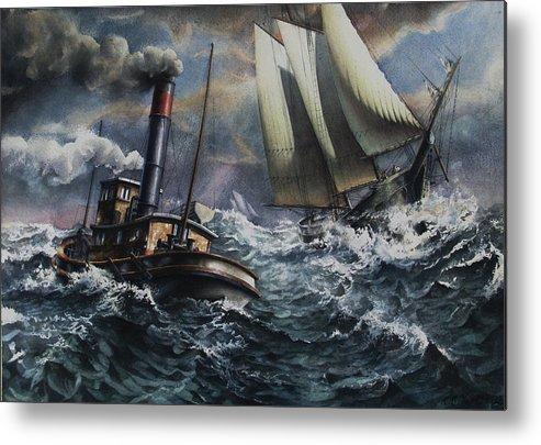 Schooner Metal Print featuring the painting Tugboat And Lumber Schooner In Storm by Miller Keith