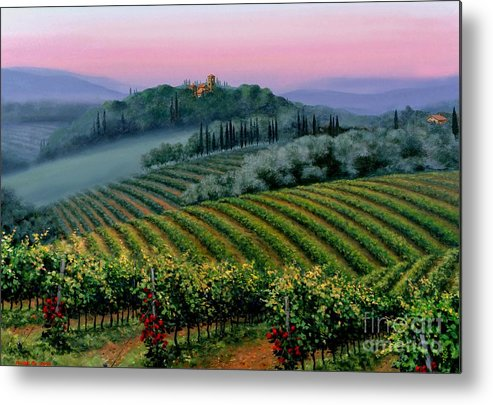 Tuscan Sunset Metal Print featuring the painting Tuscan Dusk by Michael Swanson