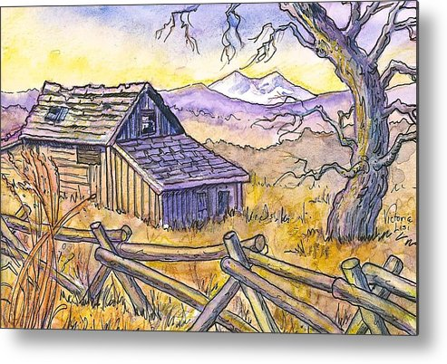 Watercolor And Ink Sketch Metal Print featuring the painting View From Strauss Cabin Road by Victoria Lisi