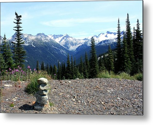 Snow Capped Mountains Metal Print featuring the photograph view from Whistler mountain by Amanda Holmes Tzafrir