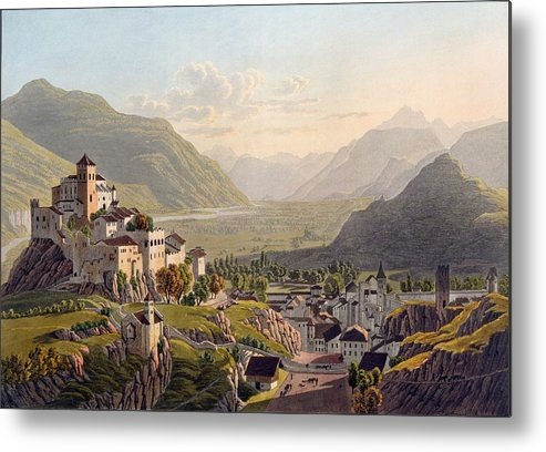 Simplon Metal Print featuring the drawing View Of Sion, Illustration From Voyage by Gabriel L. & Lory, Mathias G. Lory