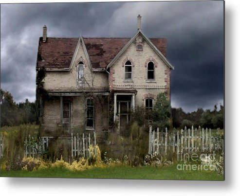 Haunted House Metal Print featuring the photograph White Picket Fence by Tom Straub