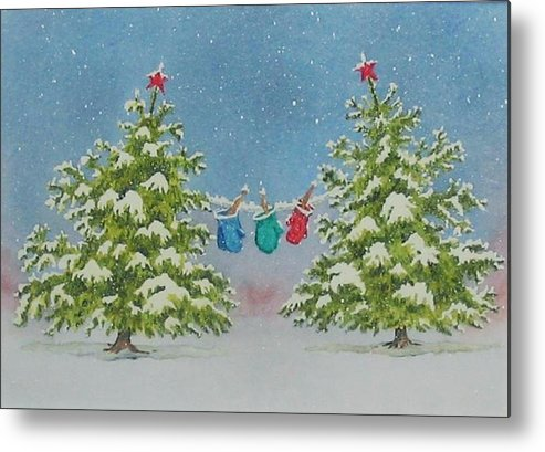 Fun Metal Print featuring the painting Winter Is Fun by Mary Ellen Mueller Legault