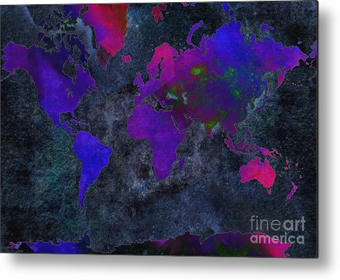 Andee Design Map Metal Print featuring the digital art World Map - Purple Flip The Dark Night - Abstract - Digital Painting 2 by Andee Design