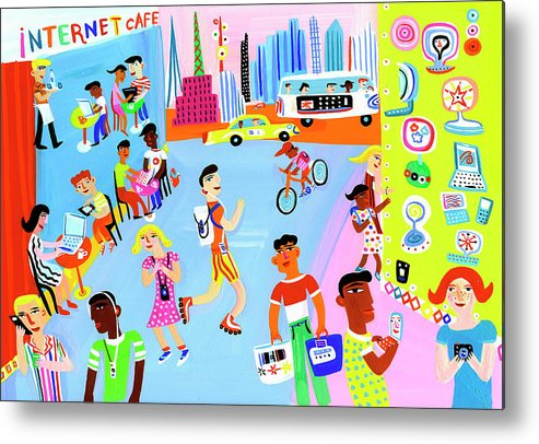 People Metal Print featuring the digital art Young People Using Mobile Technology In by Christopher Corr