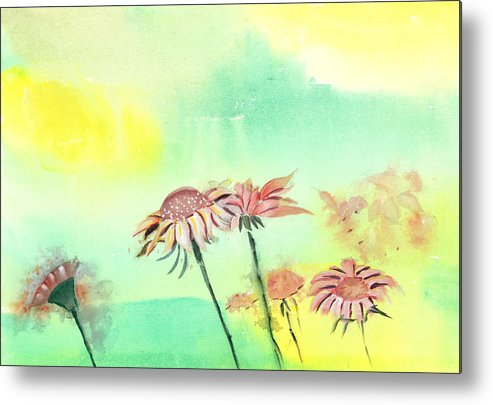 House Metal Print featuring the painting Flowers 2 by Anil Nene