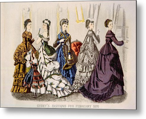 1870s Fashion Metal Print featuring the photograph Womens Fashions From Godeys Ladys Book by Everett