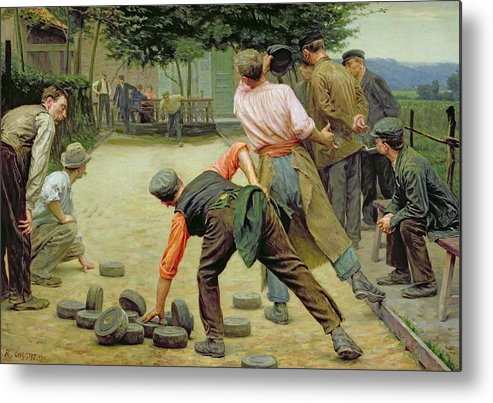 A Game Of Bourles In Flanders Metal Print featuring the painting A Game Of Bourles In Flanders by Remy Cogghe