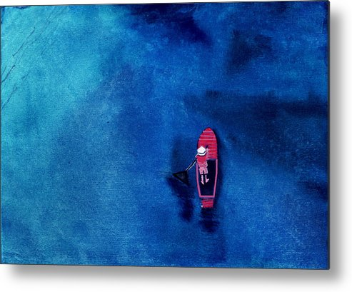Boat Metal Print featuring the painting Alone 1 by Anil Nene