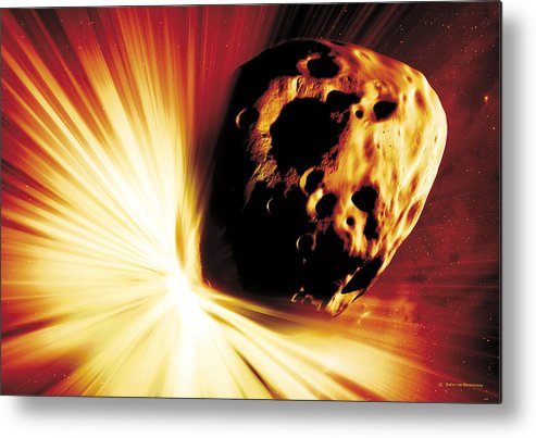 Explosion Metal Print featuring the photograph Asteroid Deflection, Stand-off Explosion by Detlev Van Ravenswaay