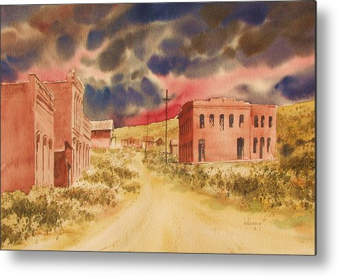 Landscape Metal Print featuring the painting Aurora Ghost Town Nevada by Kevin Heaney