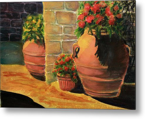 Metal Print featuring the painting Backyard Pots by Irina Voznyuk