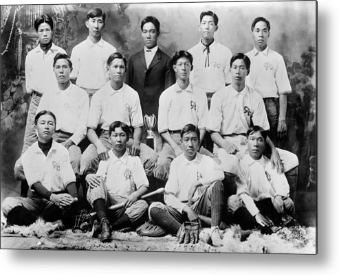 1910s Metal Print featuring the photograph Baseball. Chinese-american Baseball by Everett