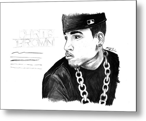 Chris Brown Drawing Metal Print featuring the drawing Chris Brown Drawing by Kenal Louis