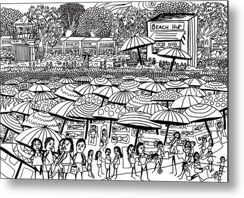 Beach Metal Print featuring the drawing Crowded Beach Black And White by Karen Elzinga
