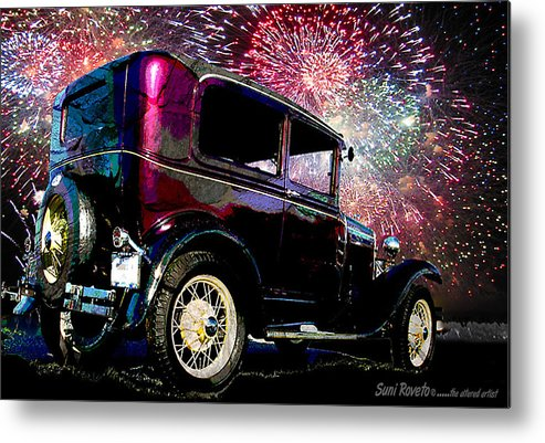 Car Metal Print featuring the painting Fireworks In The Ford by Suni Roveto