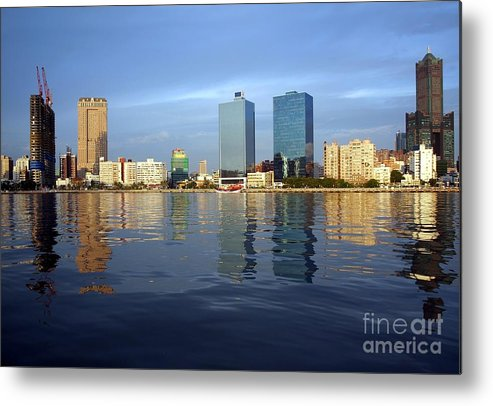 Kaohsiung Metal Print featuring the photograph Kaohsiung City Waterfront In The Late Afternoon by Yali Shi