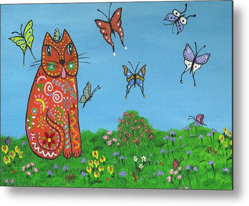 Cat Metal Print featuring the painting Kittyboy's Butterflies by Marilyn Ferguson