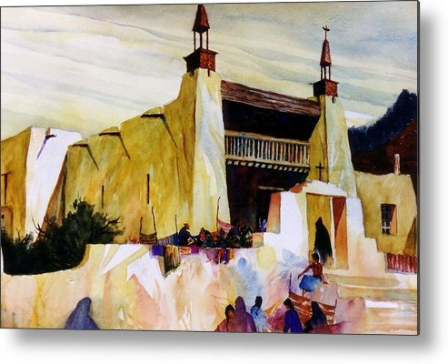Old Hispanic Church Metal Print featuring the painting Las Trampas Market by Bob Cox