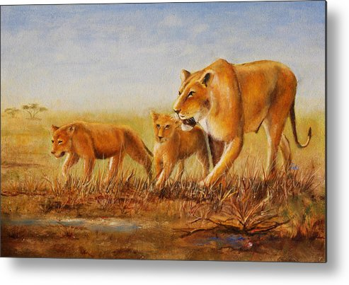 African Lioness Metal Print featuring the painting Lioness by Albert Ferrand