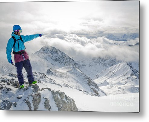 Snowboard Instructor Metal Print featuring the photograph Mountain Guide Snowboard Instructor Pointing Out Peaks In Davos by Andy Smy