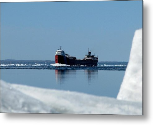 Freighter Metal Print featuring the photograph Moving Through The Straits by Keith Stokes