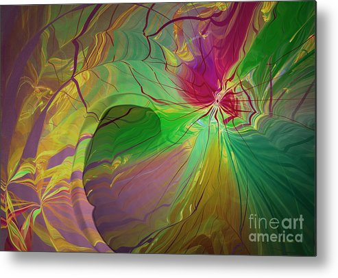 Abstract Metal Print featuring the digital art Multi Colored Rainbow by Deborah Benoit