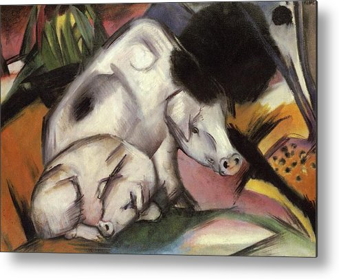 Pigs Metal Print featuring the painting Pigs by Franz Marc