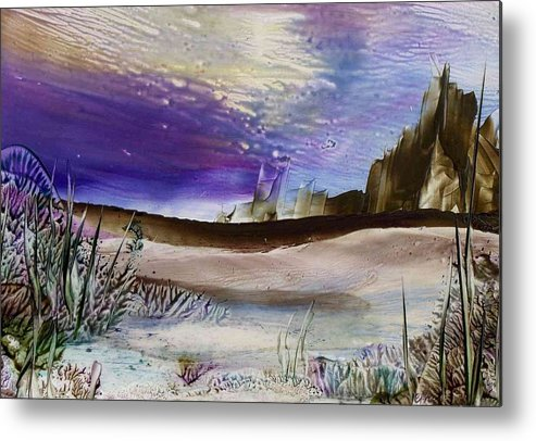 Landscape Metal Print featuring the painting Purple Dreams by Catherine Price