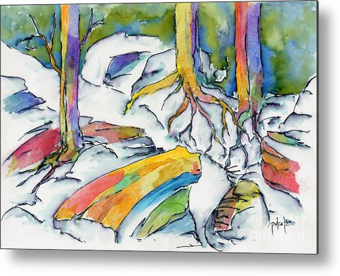 Roots Metal Print featuring the painting Roots And Rocks by Pat Katz