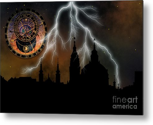 Outline Metal Print featuring the digital art St Nikolas Church - Prague by Michal Boubin