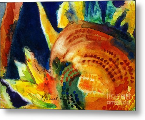 Paintings Metal Print featuring the painting Sunflower Head 3 by Kathy Braud