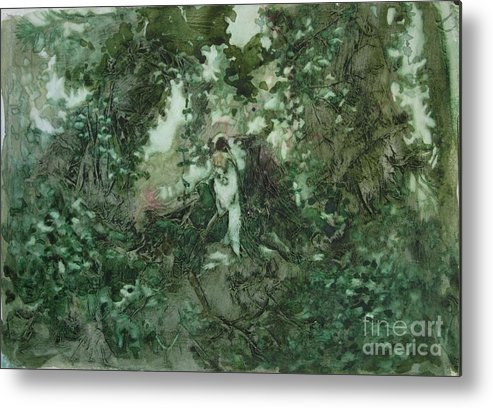 Kudzu Metal Print featuring the painting Surprised Bather by Elizabeth Carr