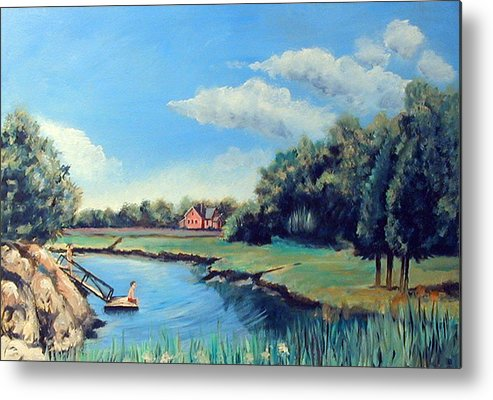 Swimming Metal Print featuring the painting Swimming by Robert Harvey