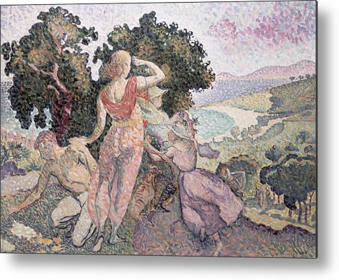 The Excursionists Metal Print featuring the painting The Excursionists by Henri-Edmond Cross