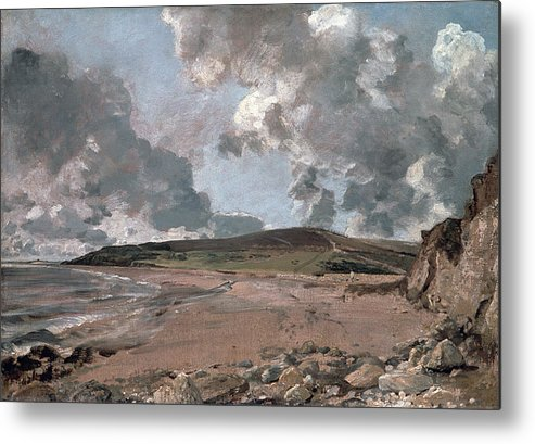 Furzy Cliff; Sand; Clouds; Cloud; Landscape; Rocky; Desolate; Barren; Romantic; Romanticism; Darkened; Storm; Stormy Metal Print featuring the painting Weymouth Bay With Jordan Hill by John Constable